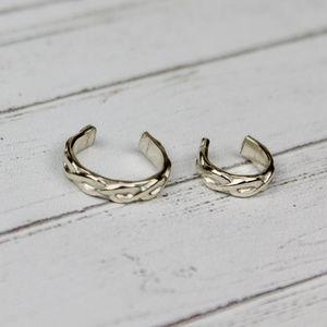 Set of 2 Twisted Braided Ear Cuffs S Silver